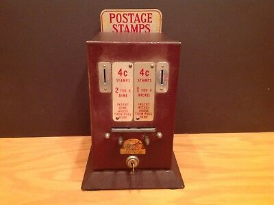 Vintage Schermack Stamp Vending Machine Drug Store counter with key 5 & 10 Cent