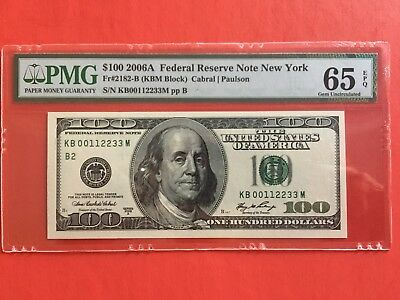 Fr. 2182-B 2006A  100 dollar Fancy Serial Number PMG 65 EPQ