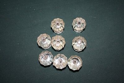 Set of 8 vintage glass cupboard knobs or pulls.  Clear glass