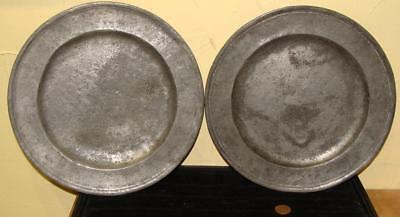 Pair of Antique Pewter Plates, Worn Surface & Marks, c. 1800