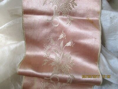 ANTIQUE VICTORIAN LUSH SILK DAMASK RIBBON TRIM FRAGMENT DUSTY ROSE PATINA 18.5x4