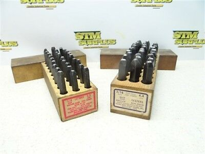 """Pair Of 1/8"""" & 3/16"""" Letter Steel Stamps A-Z+ """"."""" Young Bros. W/ Wooden Boxes"""