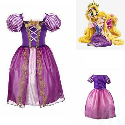 Girls Kids Fairy Tale Princess Tangled Rapunzel Fancy Dress Outfit for 2-8 Year