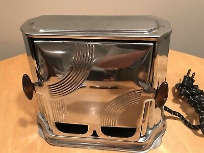 VTG Son-Chief Toaster Chrome Art Deco Design Series 680 Electric Two Slice Works