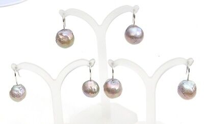 Pearls Earrings with edison pearls BAROQUE Earwires Sterling Silver 3876 A to C
