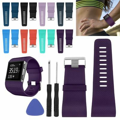Size S/L Silicone Rubber Wristband Watch Band Strap Bracelet For Fitbit Surge