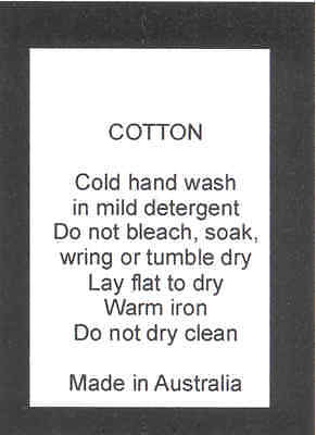 100 Care Labels Washing Instructions on soft satin - Cotton Hand Wash Australia