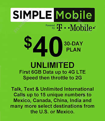 Simple Mobile preloaded sim with $40.00 UNLIMITED plan 6GB