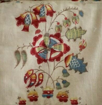 Antique French c1880-1900 Indienne Picotage Cotton Padded Pillow Ecru Red Blue