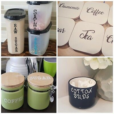Pantry / Coffee Canister Labels - Custom Personalised - Kmart / Tupperware