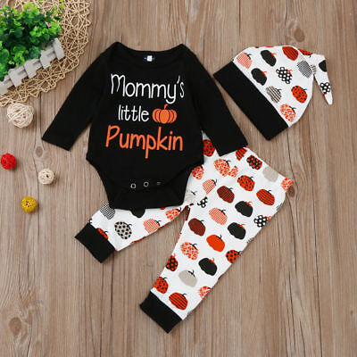 UK Baby Infant Boys Girls Little Pumpkin Halloween Outfit Romper Top+Hat+Pants
