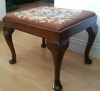 Victorian  Hand Stitched Tapestry  Stool Queen Anne Legs