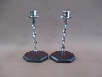 Candlesticks, Art Deco, pair, electroplated brass, vintage