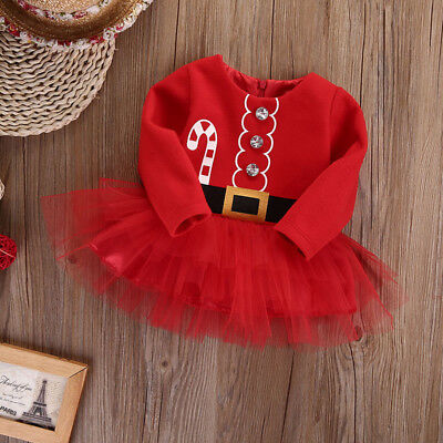 Newborn Infant Girls Baby Christmas Xmas Romper Tutu Dress Outfit Clothes red UK