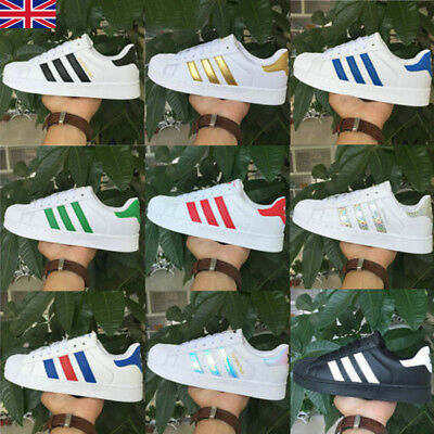 Mens Women's Superstar Leather Casual Lace Up Flats Sneakers Trainer Shoes Hot