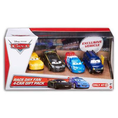 Mattel Y7334 Disney Cars Race Day Fan Edition Die Cast mit 4 Spielzeug Autos