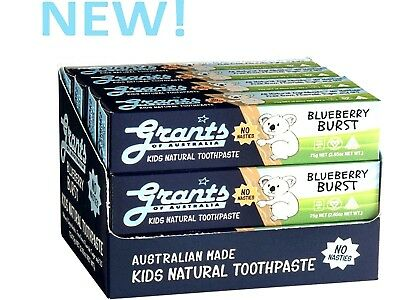 12 x 75g GRANTS Kids Natural Toothpaste Blueberry Burst