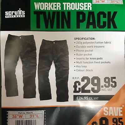 Scruffs Worker Trouser 36W 32L active fit workwear trousers free bump cap