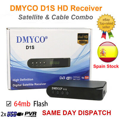 Free FTA D1S HD 1080P DVB-S2 PVR Digital Satellite Receiver TV Box USB Wifi Biss