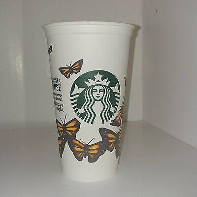 BRAND NEW Starbucks 2016 Contest Reusable Coffee Cup Monarch Butterfly 16 Oz