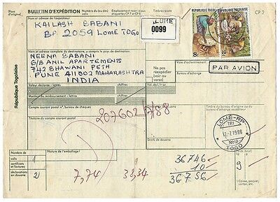 Togo parcel card to India