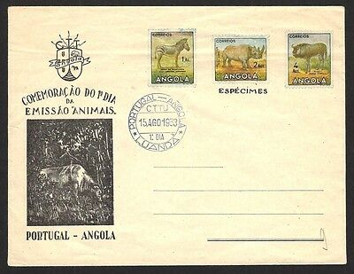 Angola 1953 Wildlife ESPECIMENS envelope with First Day postmark ex Jim Czyl