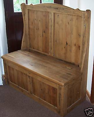 Rustic Old Solid Wood Pine Monks Bench Church Pew Settle Handmade To Any Size