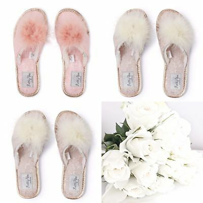 0dd47cbc0f3 Pretty You London Womens Ladies Luxury Diamante and Bow Toe Post Slippers -  NEW