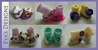 Eva's Designs Hand-knitted Socks Booties (0-6 Months) - perfect gift