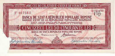 Vintage Rare Type RPR Travellers cheque with watermark 50 lei Romania 1959