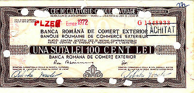 Vintage RSR Travellers cheque with watermark 100 lei Romania 1972
