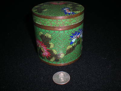 Antique Chinese Green Floral Cloisonne Jar Circa 1850-1900 Tea or Tobacco Caddy