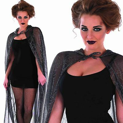 Ladies Deluxe Spider Web Cape With Hood Halloween Fancy Dress Costume Accessory