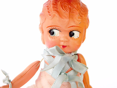"""Vintage 1920's Celluloid Flapper 6"""" Doll Dressed string jointed REPAIR NEEDED"""