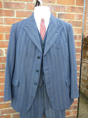Rare 1945 Dated 3 Piece Real Demob Suit Good Size 100% Real Deal
