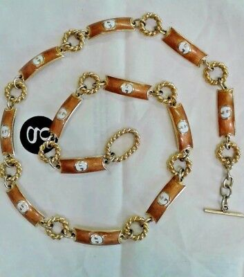 Vintage 70's Gucci Goldtone with White Enamel Metal Link Belt
