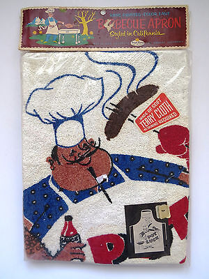 1950s BBQ Bib Apron by Vernon McQuiddy UNUSED Terry Cloth Apron Retro Graphics