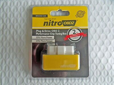 Yellow Nitro OBD2 Performance Tuning Chip Box Gas/Petrol Vehicles Plug & Drive