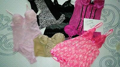 8 Piece Lingerie Lot XL, M -  1 Bustier/ Babydoll/2 Sets