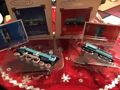 2 Hallmark Keepsake Ornaments: Lionel Blue Comet 400E Steam & Oil Tender