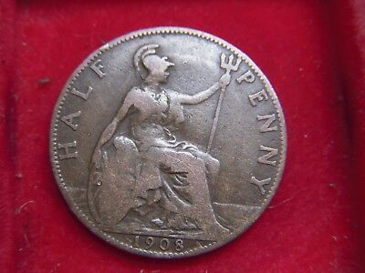 1908 Edward V11 Halfpenny From My Collection   [X71]