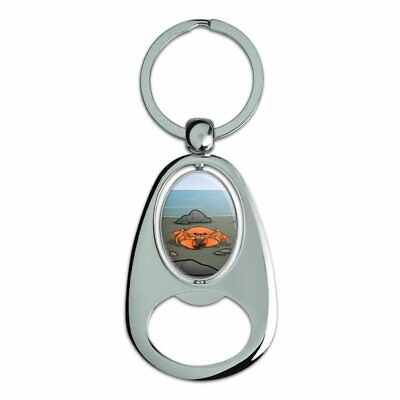 Crab On Beach Chrome Plated Metal Spinning Oval Design Bottle Opener Keychain