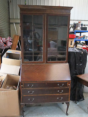 Vintage Mahogany Bureau Bookcase On Cabriole Legs - Early 20th C [2900]