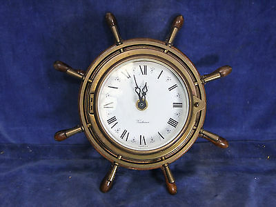 Vintage Kienzle Battery Ship's Wheel Wall Clock - Mid 20th C [4507]