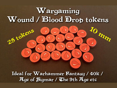 Wound / blood drop tokens - ideal for wargames e.g. Warhammer / 40k / AoS