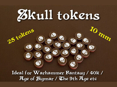 Skull tokens - ideal for wargames e.g. Warhammer / 40k / AoS