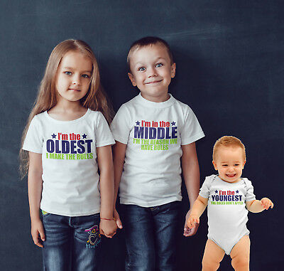 Sibling T shirt set of 3 Oldest .Middle ,Youngest Family rules funny t shirt