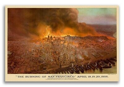 1906 The Burning of San Francisco Vintage Old Panoramic City Map - 16x24