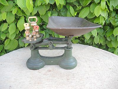 Vintage  Kitchen Scales with Brass Dumbbell  weights  (440)