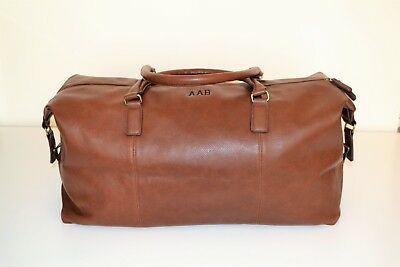 Mens PERSONALISED  Travel luggage gift leather weekend duffle bag, holdall